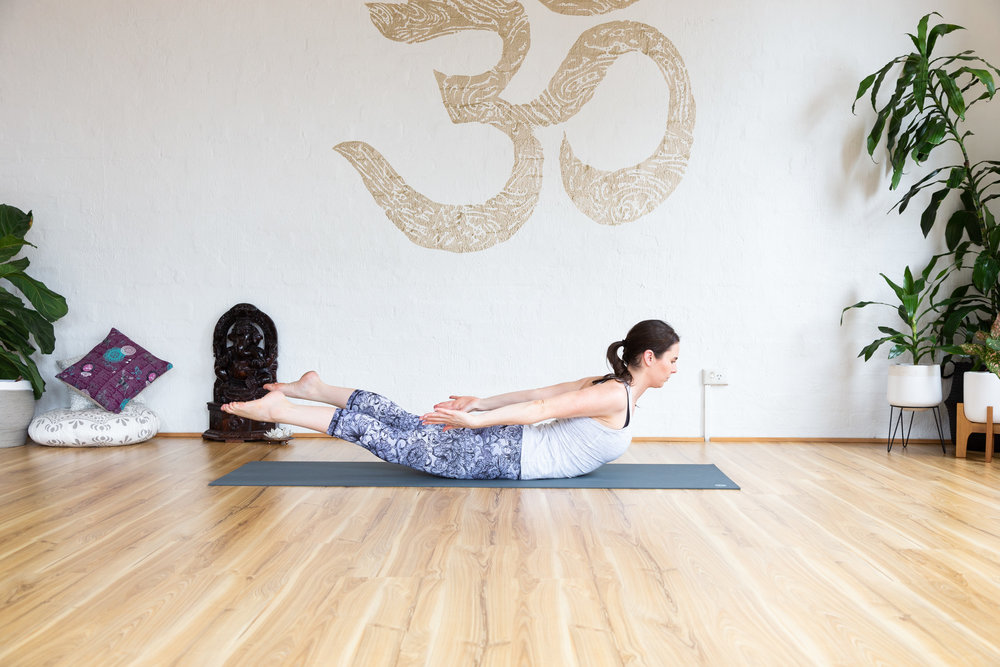 Locust pose. 9x Inhale lift. Exhale lower.