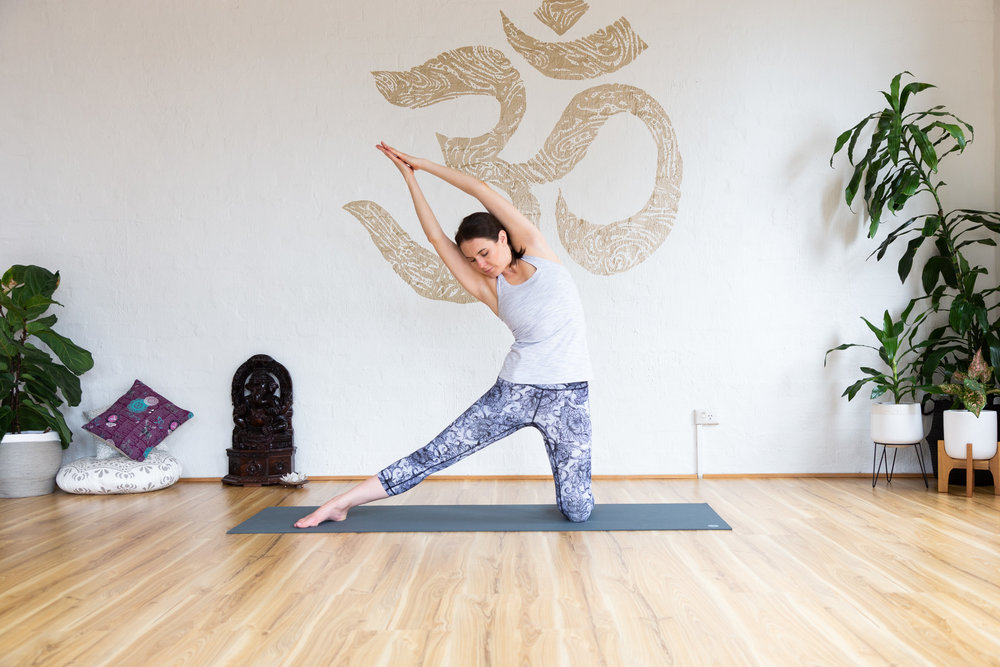 Beam pose. Keep palms together, ankle aligned with the knee. Inhale to reach tall, exhale stretch. Hold 5-9 breaths.