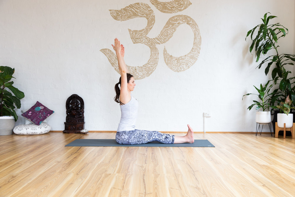 Dandasana pose: Hold 5-9 breaths. Pelvic floor strongly engaged, long spine.