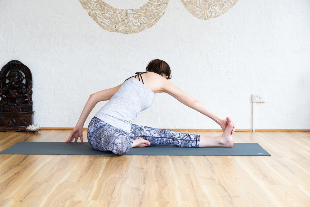 Janu sirsasana variation. Resist against the outer edge of the opposite foot, calf or thigh. Hold 5-9 breaths.