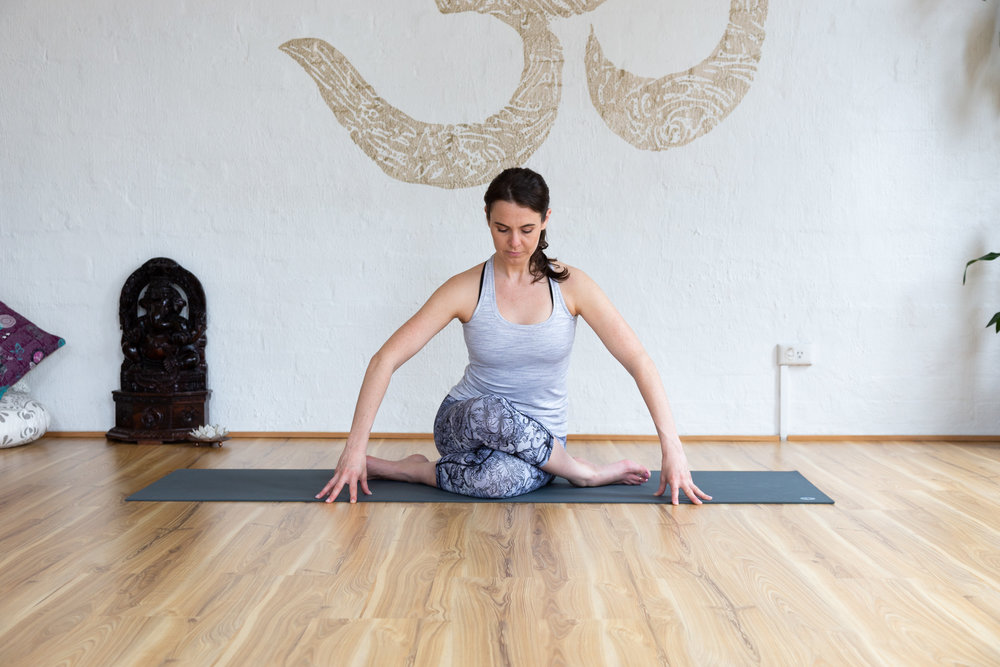 Gomnukasana: Keep bottom leg straight if pain in the knee. Keep spine straight. Hold 5-9 breaths.