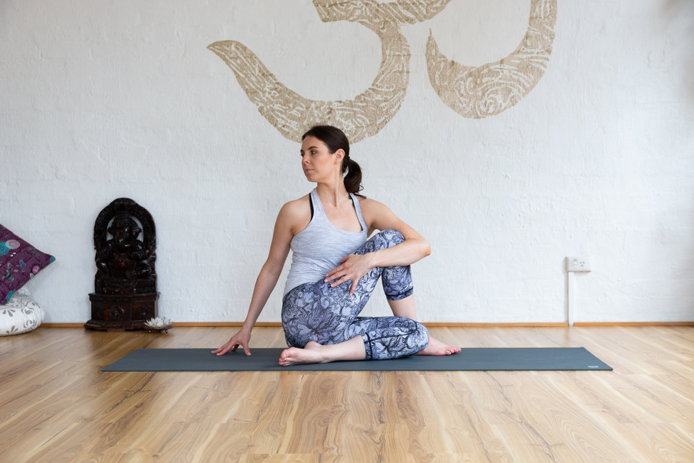 Ardha Matsyendrasana: Hold 5-9 breaths. Keep bottom leg straight if there is pain in the knee.