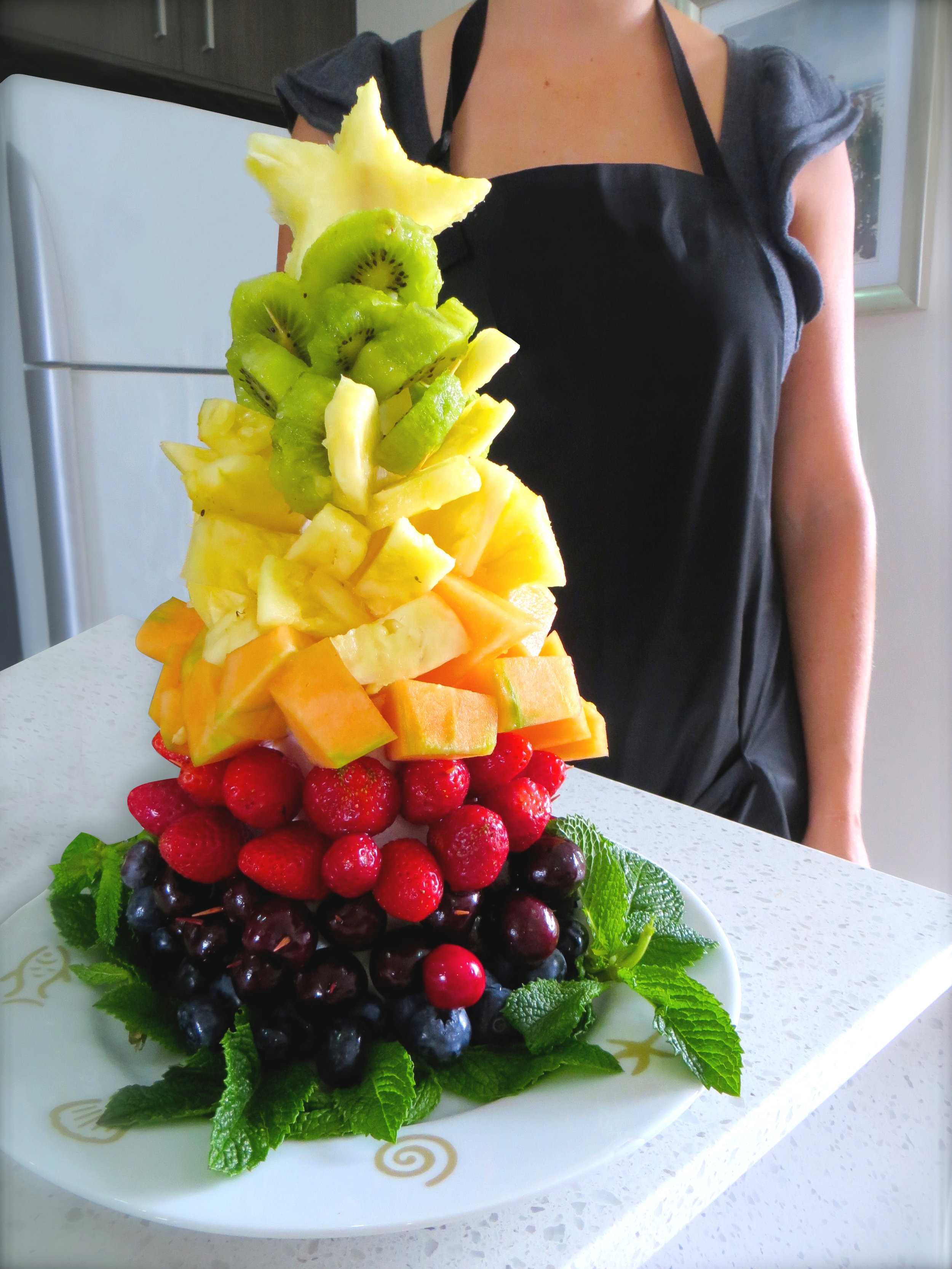Christmas Tree Fruit.Christmas Fruit Tree Dietitian Approved