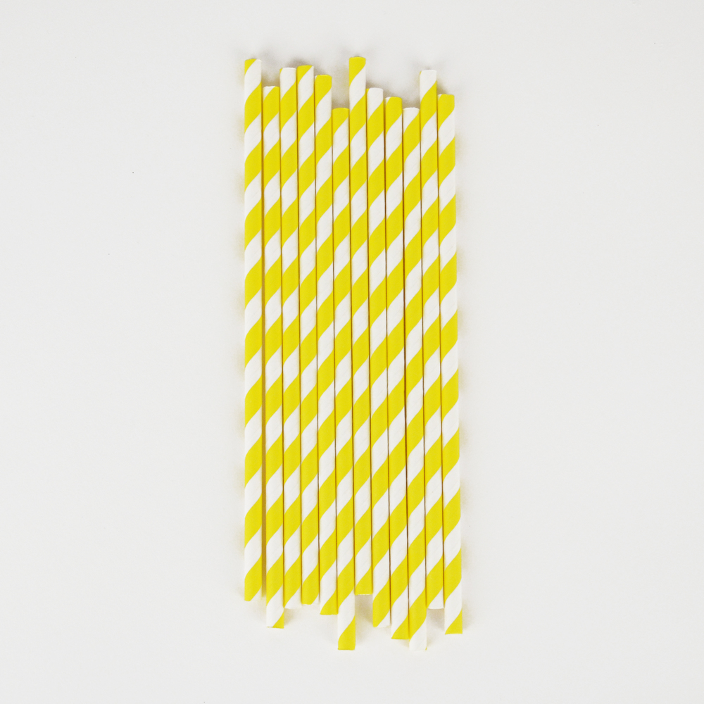 25 YELLOW STRIPE STRAWS