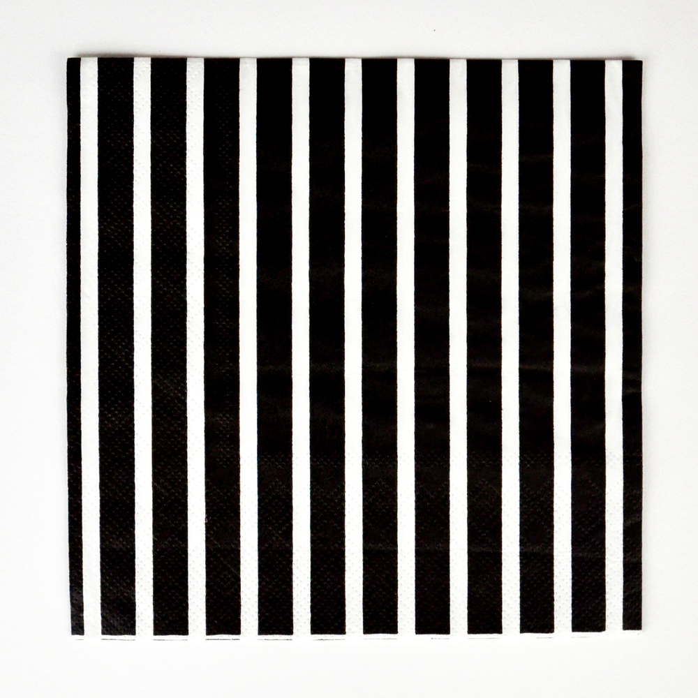 20 BLACK STRIPED NAPKINS