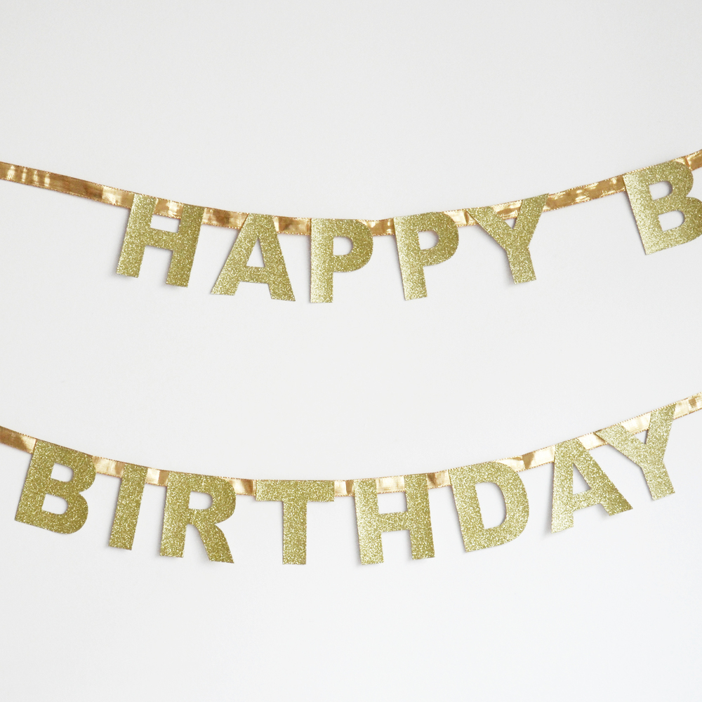 3m GOLD GLITTER HAPPY BIRTHDAY GARLAND