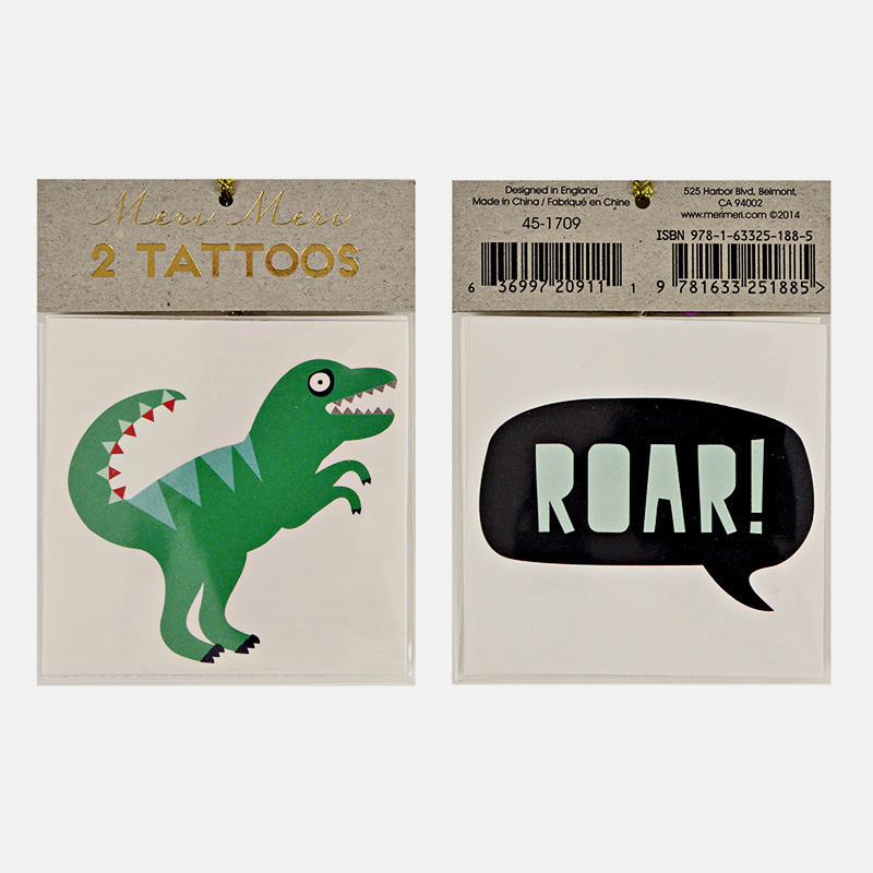 set of 2 dinosaur tattoos