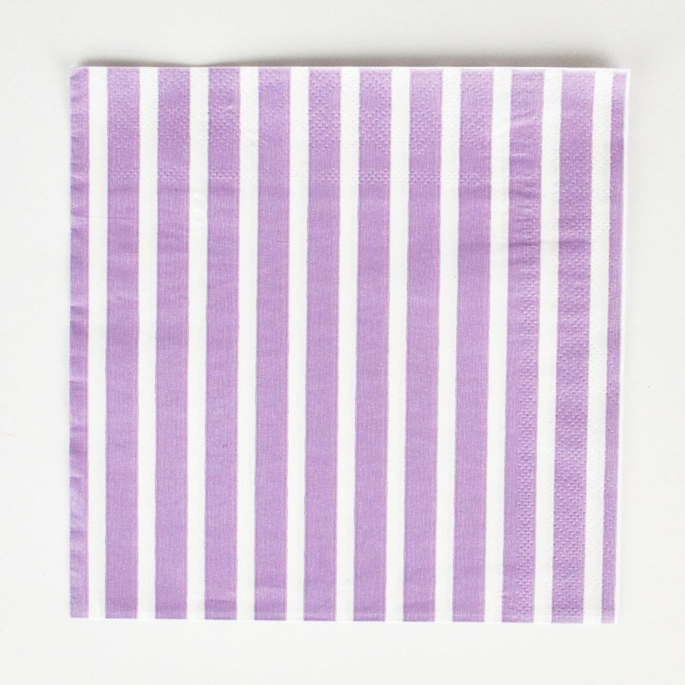 20 lavender striped napkins