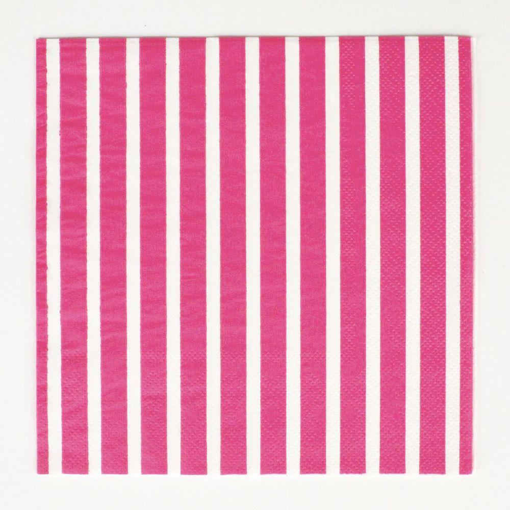 20 fuchsia stripe napkins