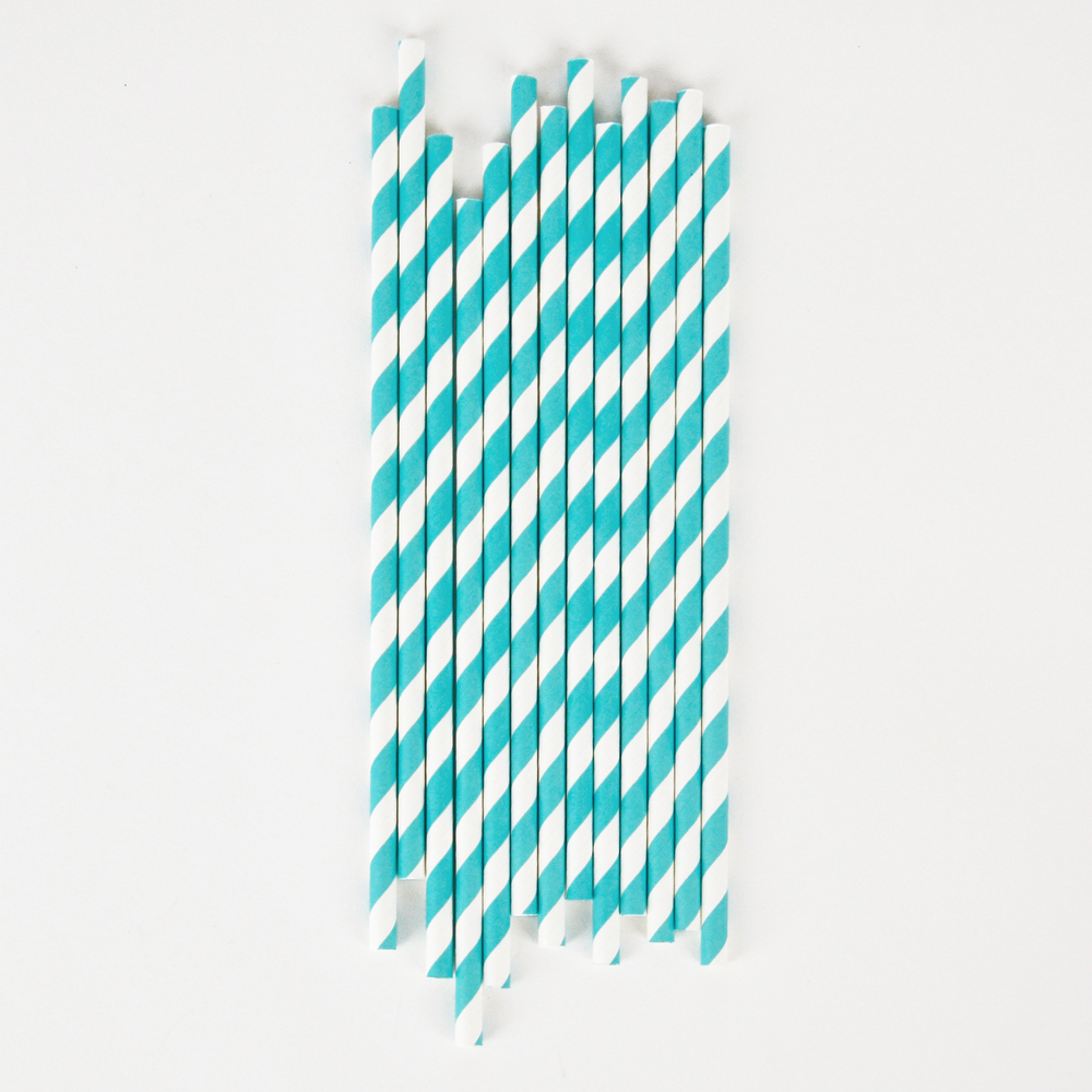 20 aqua striped straws