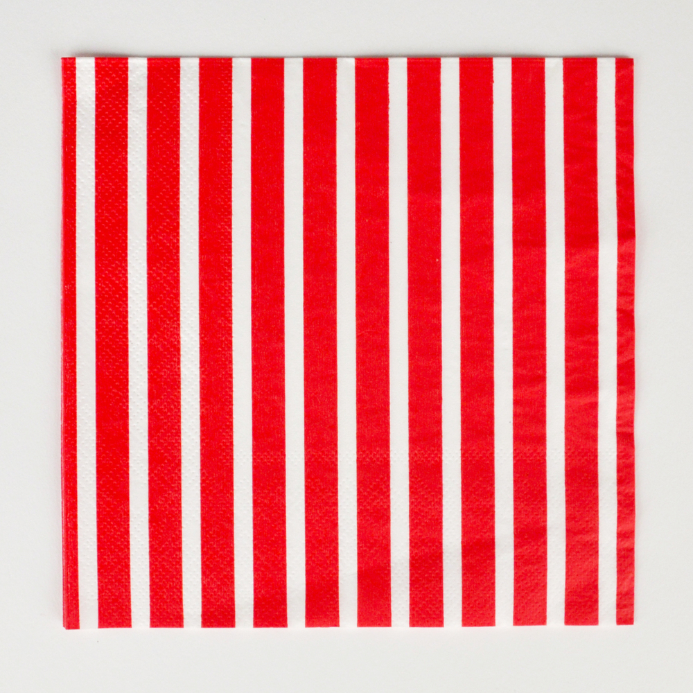 20 red striped napkins