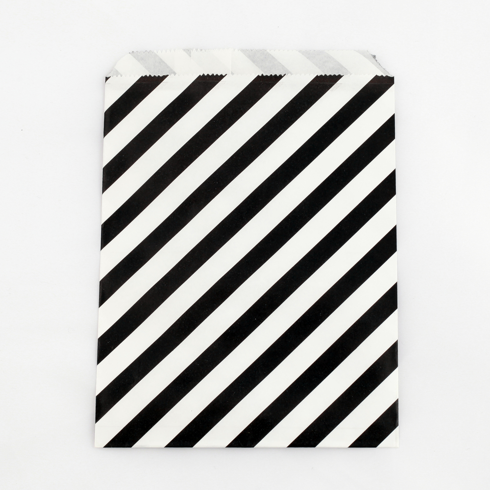 8 black striped party bags