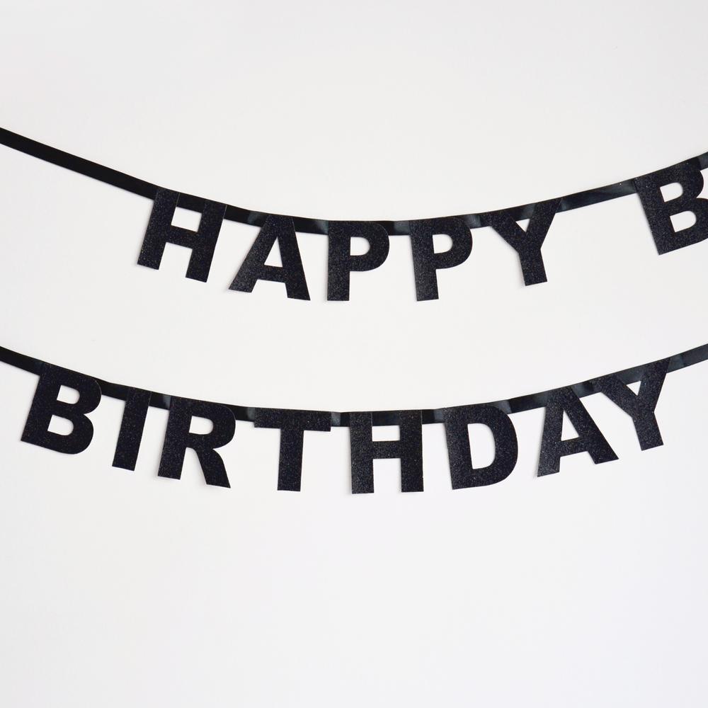 black glitter happy birthday garland