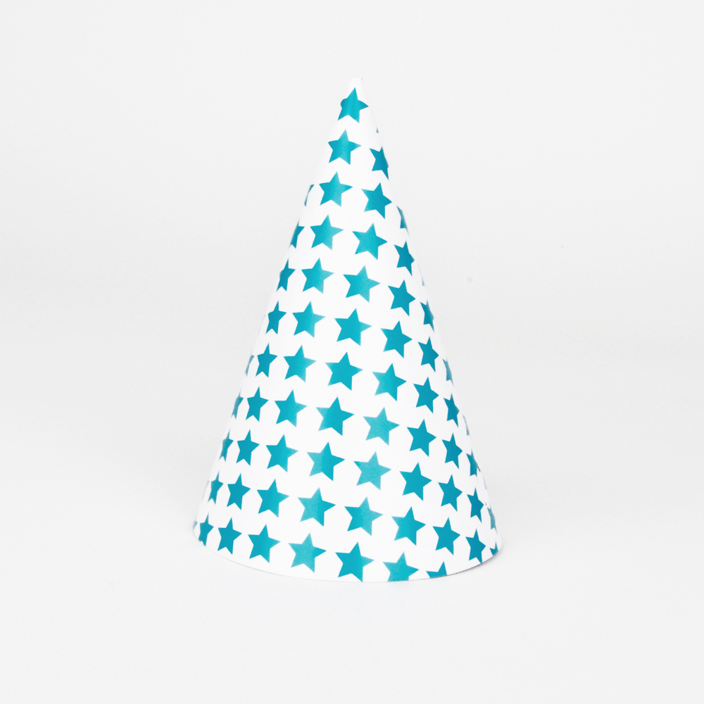 8 blue star party hats