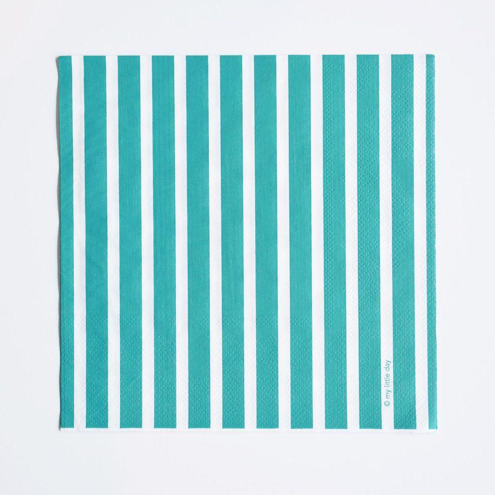 20 turquoise striped napkins