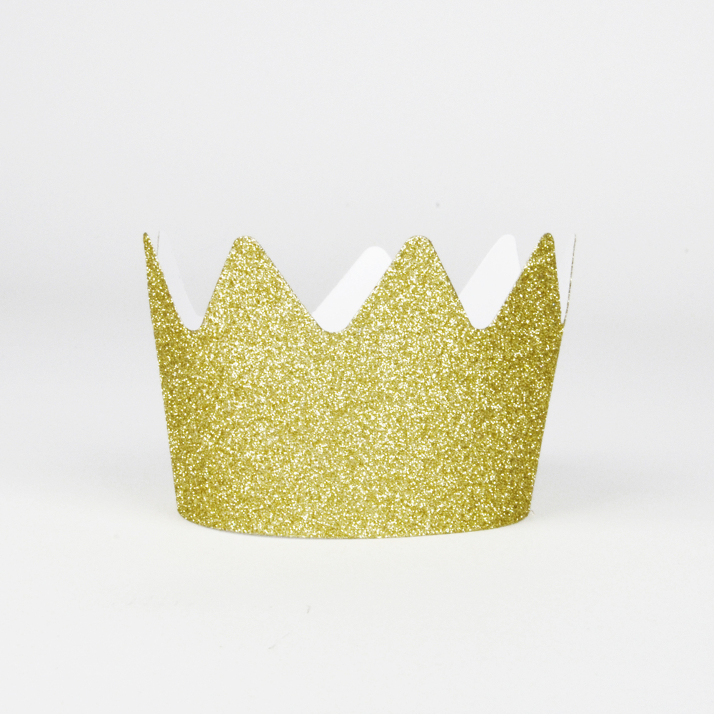 8 gold glitter crowns