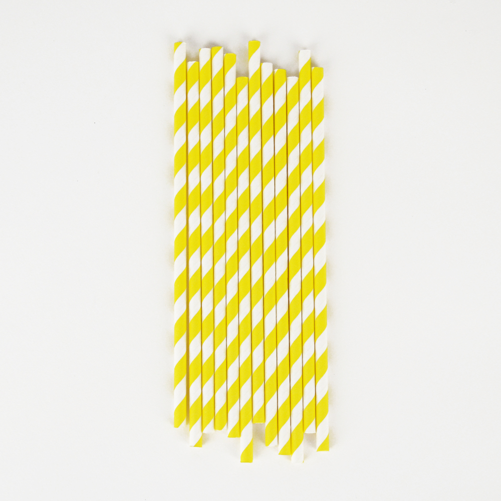 25 yellow striped straws