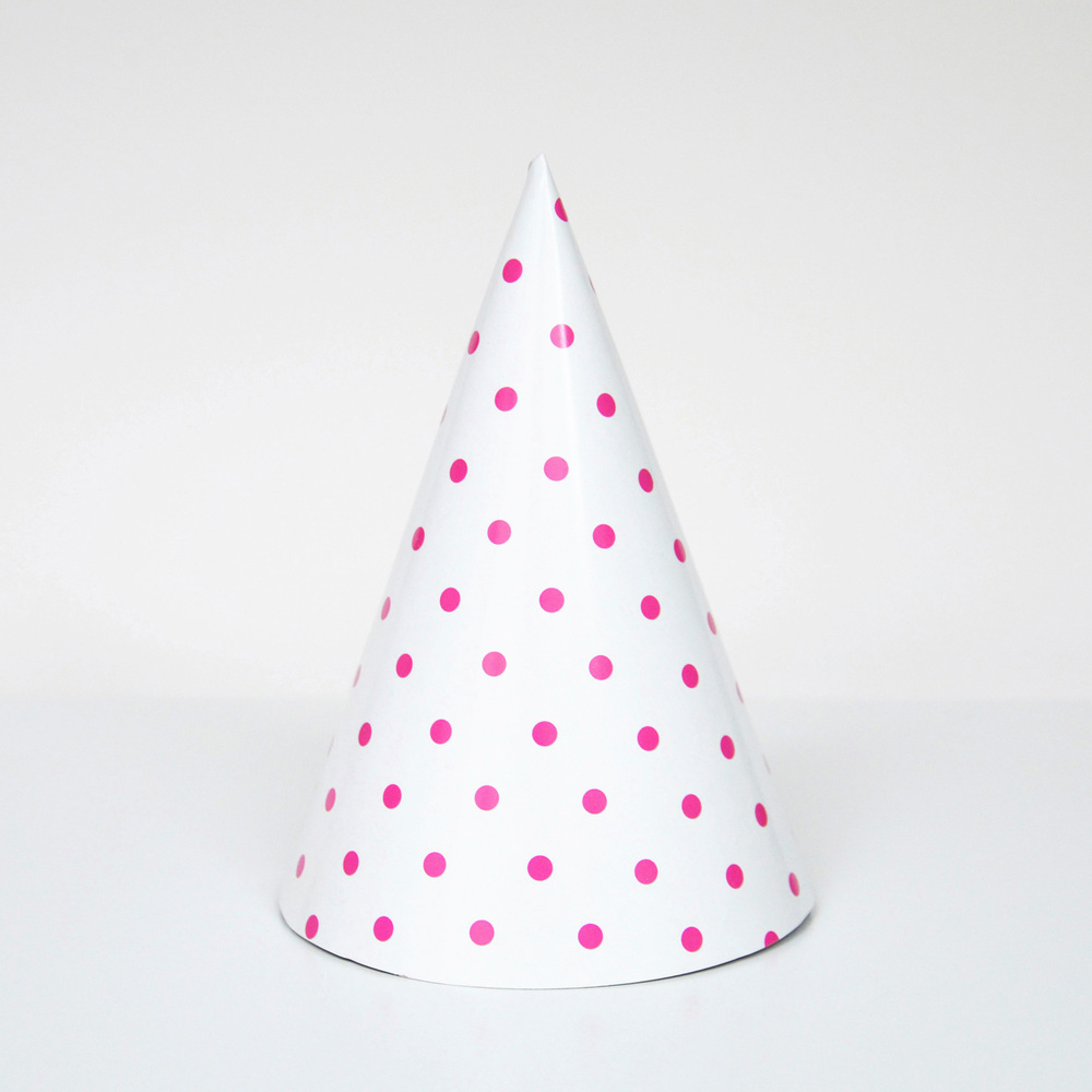 8 fuchsia dotted party hats