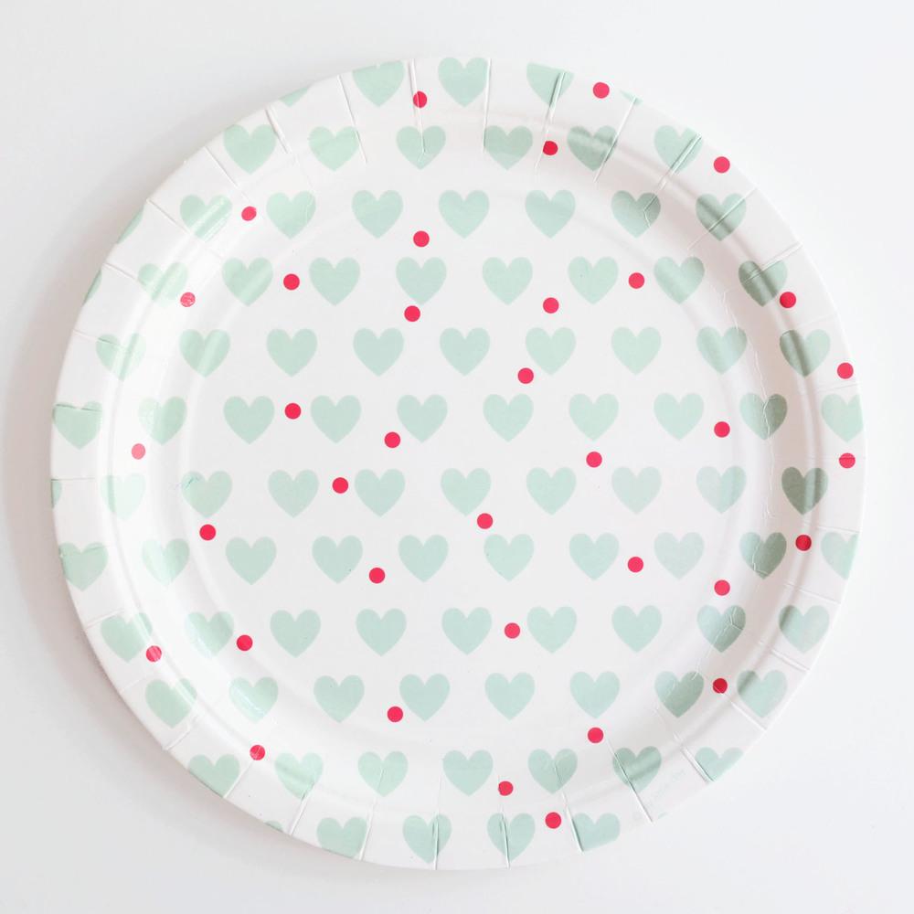 8 aqua heart plates