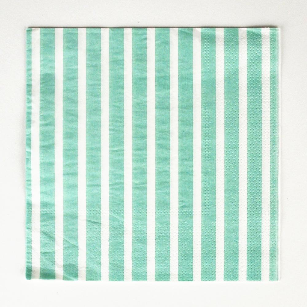 20 aqua striped napkins