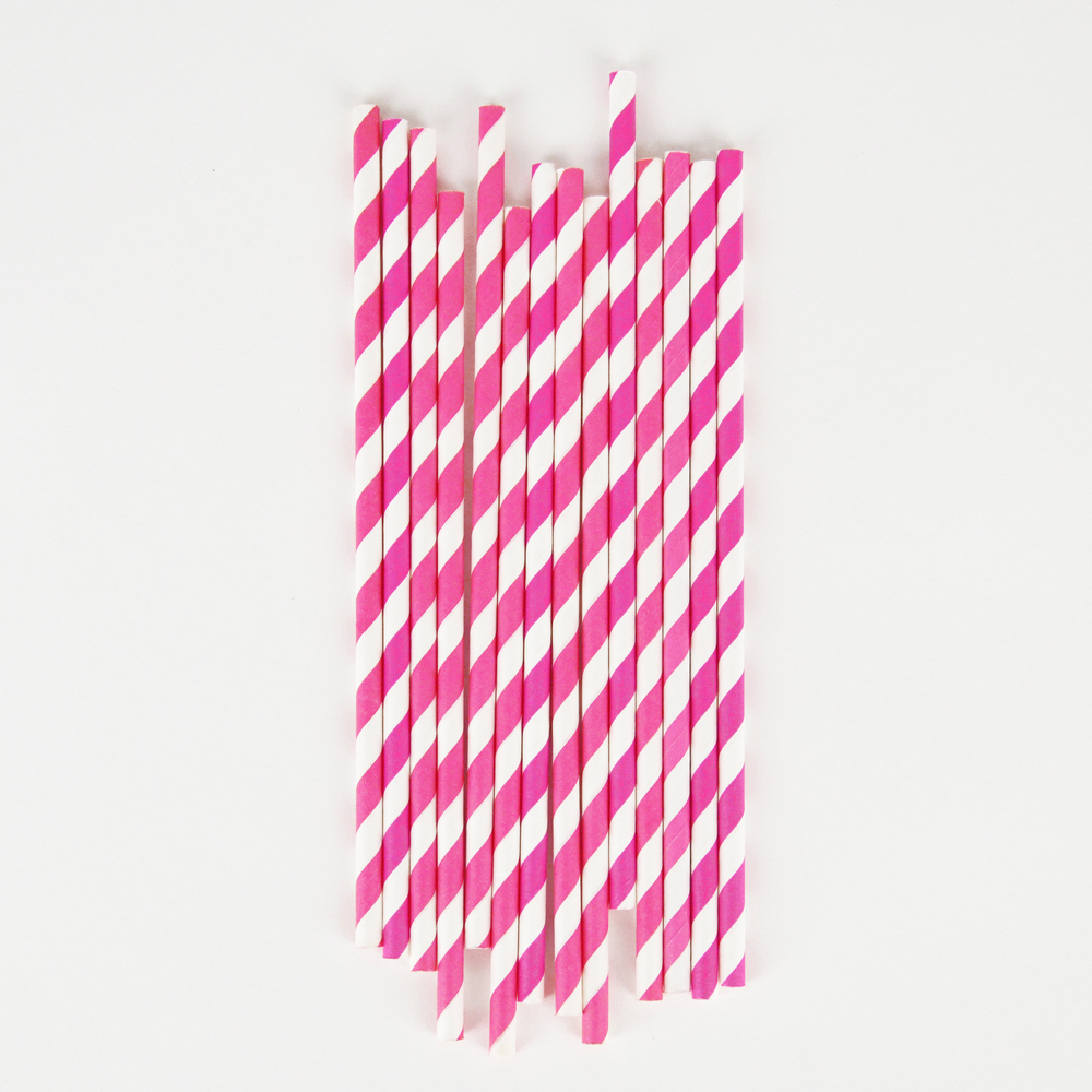 25 fuchsia striped straws