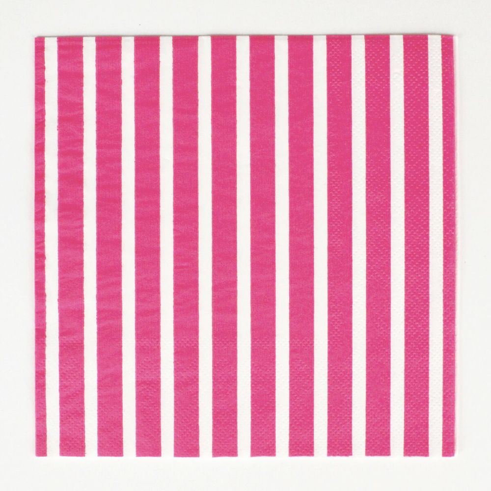 20 fuchsia striped napkins