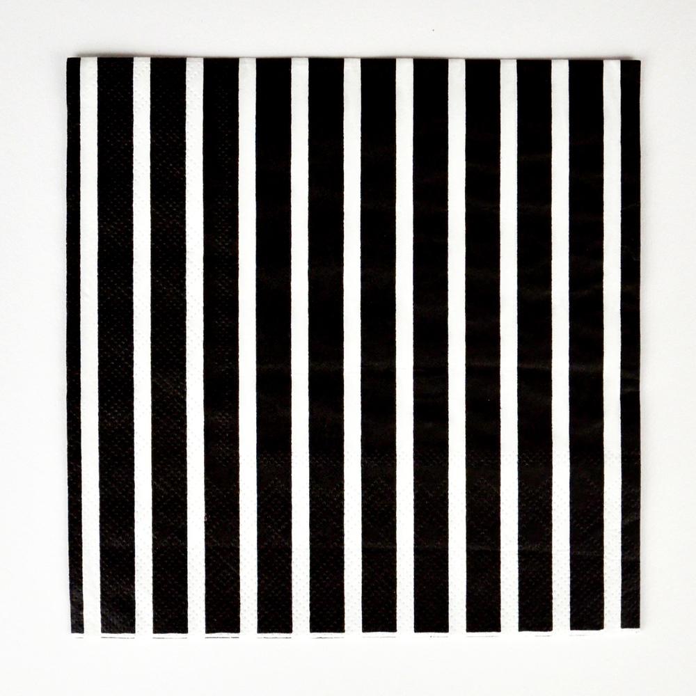 20 black striped napkins