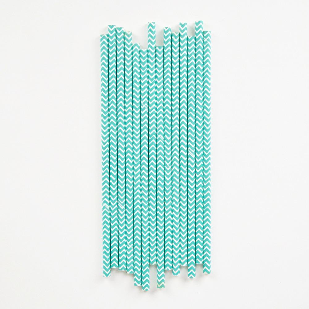 25 aqua chevron straws