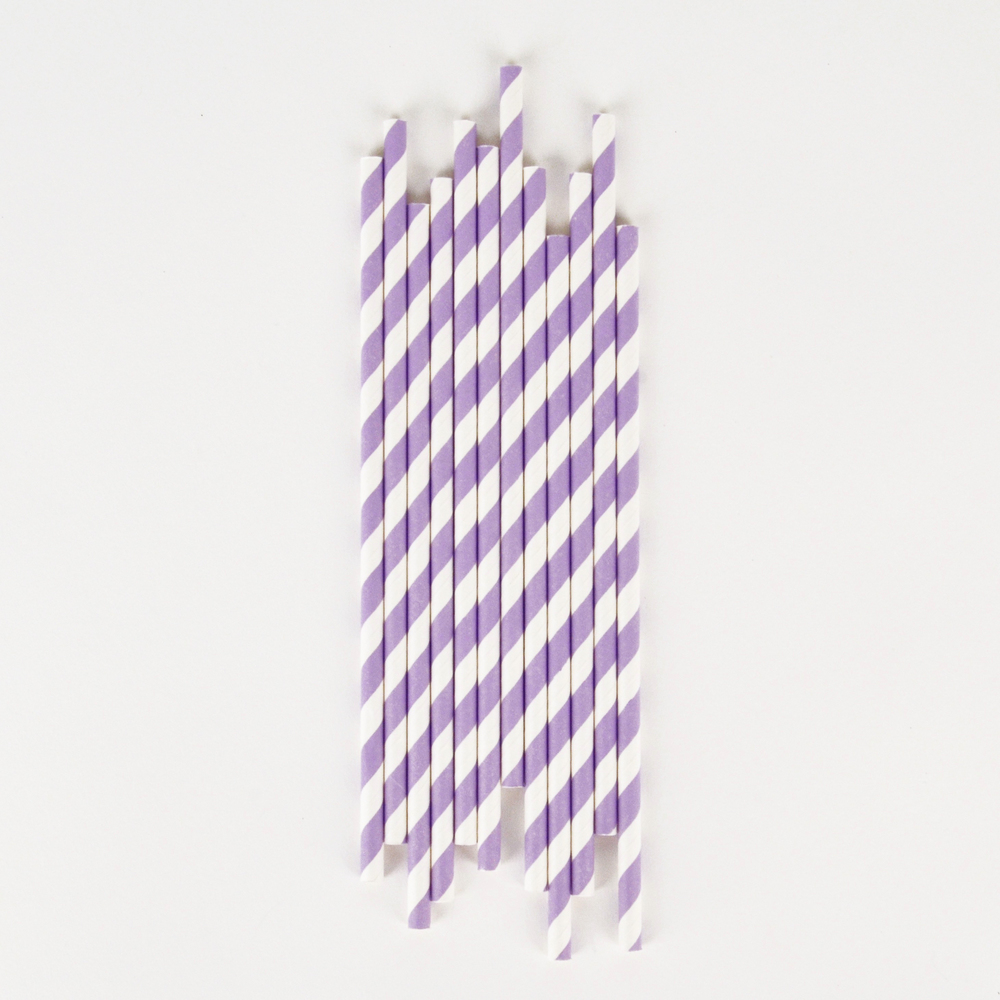 25 LAVENDER STRIPED STRAWS
