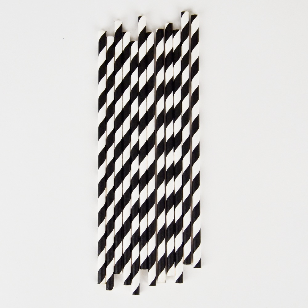 25 black striped straws