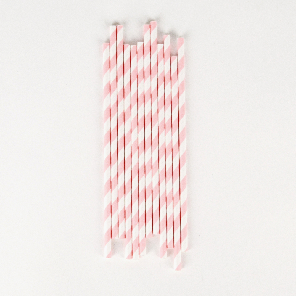 25 pink striped straws