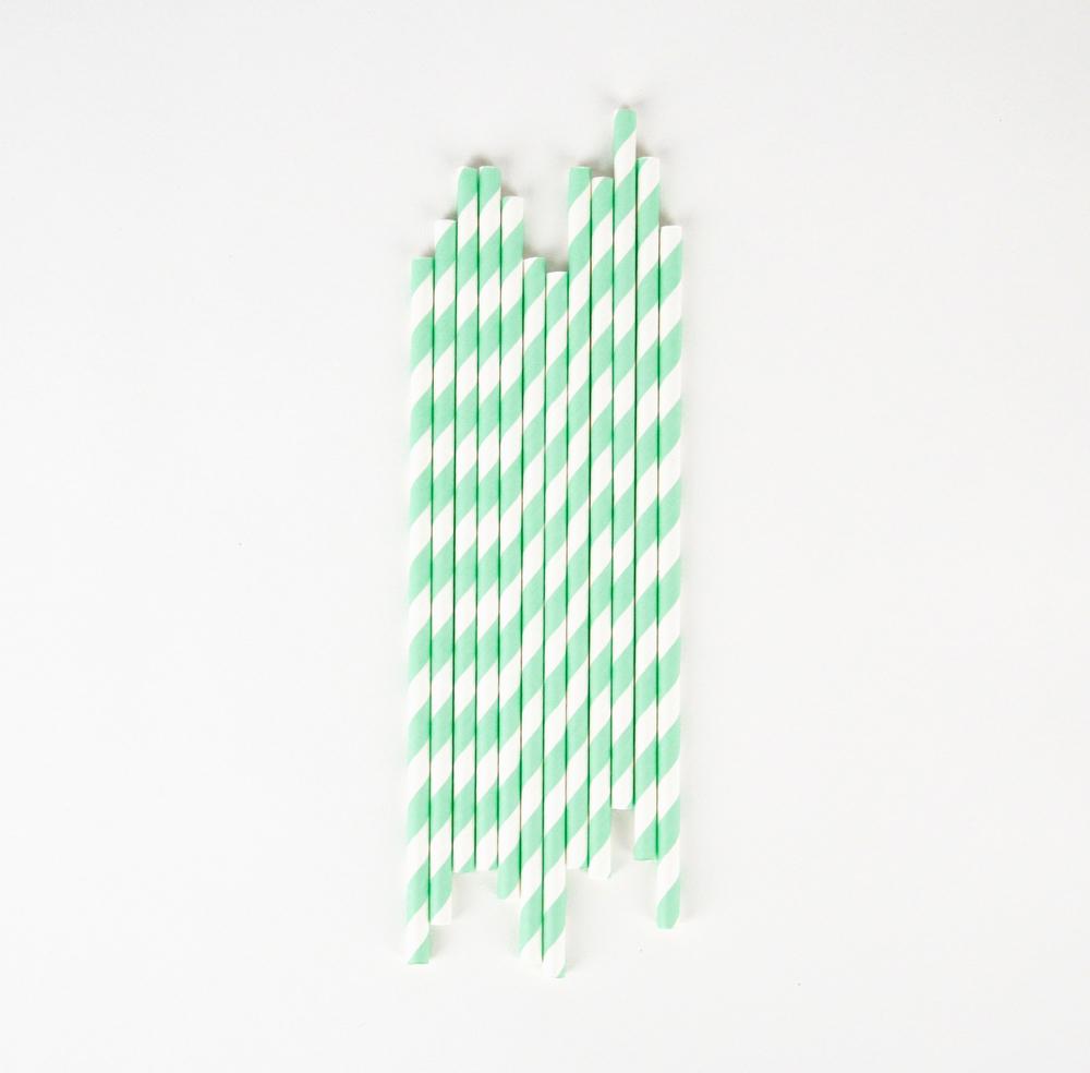 26 mint striped straws