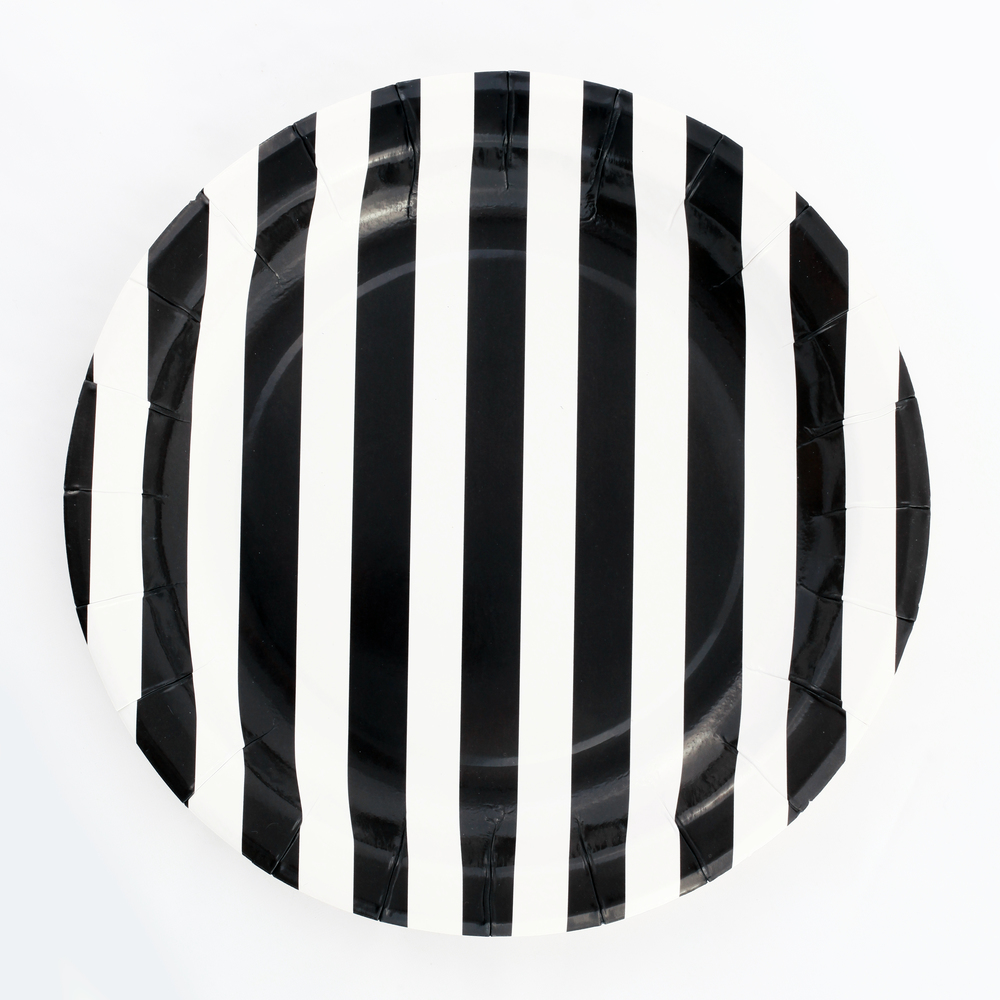 12 black striped plates