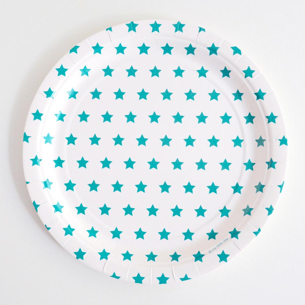 8 blue star plates