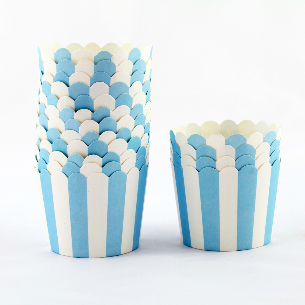 12 blue striped candy cups