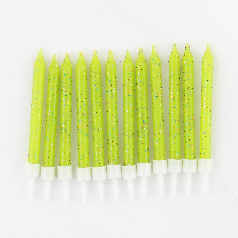 12 green glitter candles