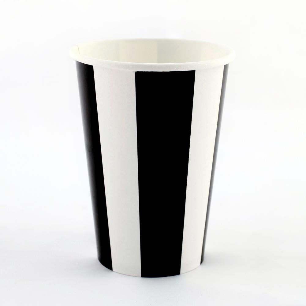 6 black striped cups