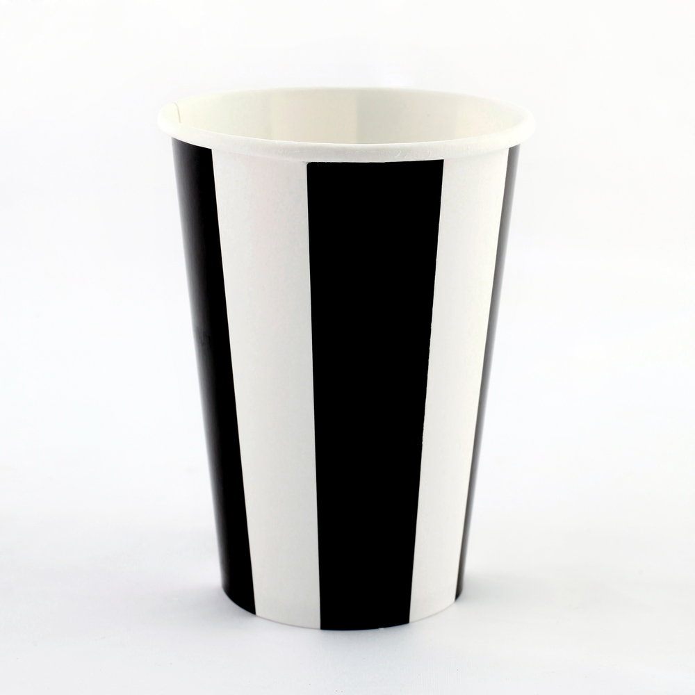 6 black striped cups