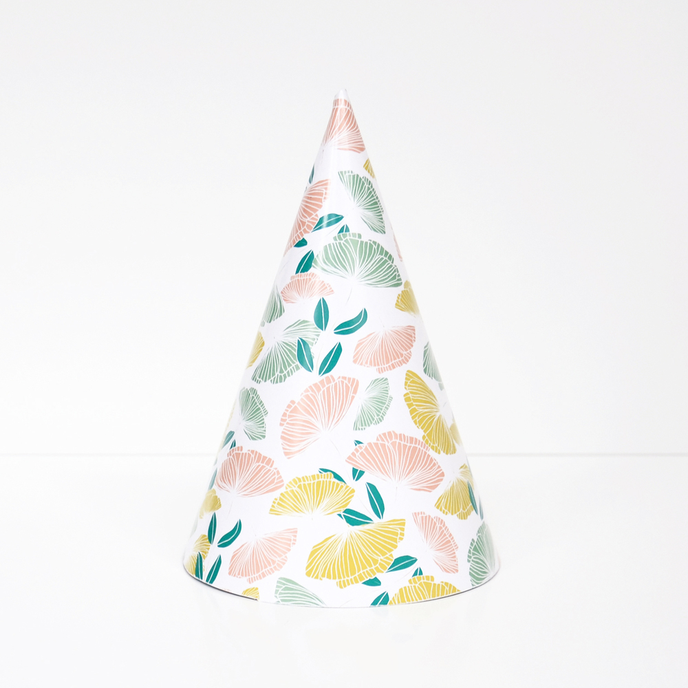 8 flower party hats