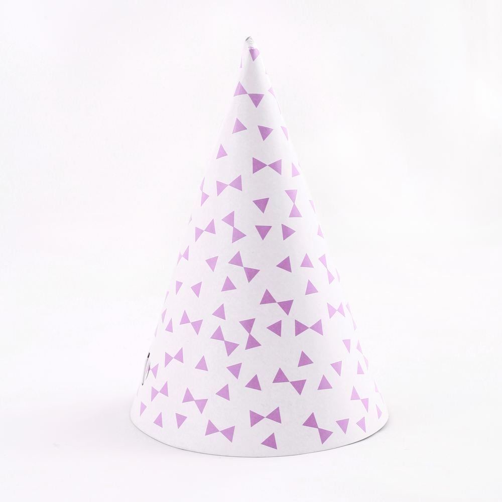 8 LAVENDER BOW PARTY HATS