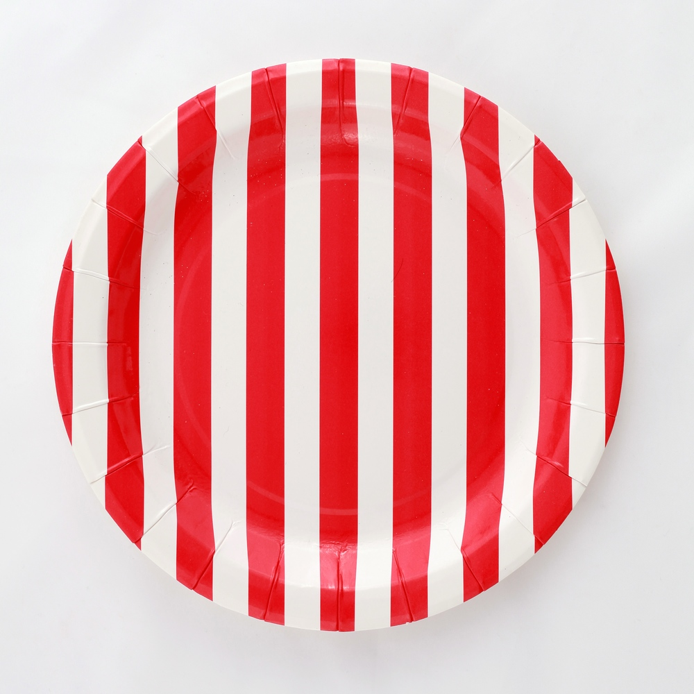 12 red striped plates