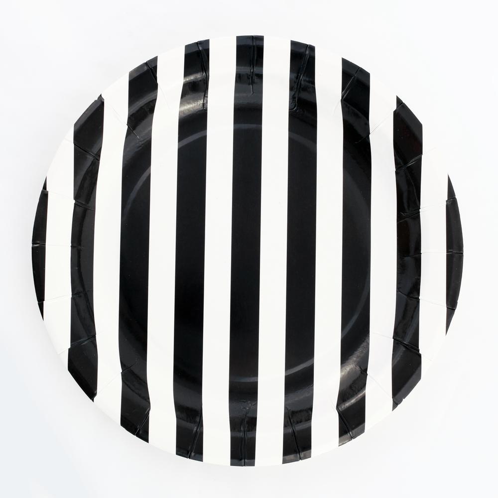 12 black striped plates