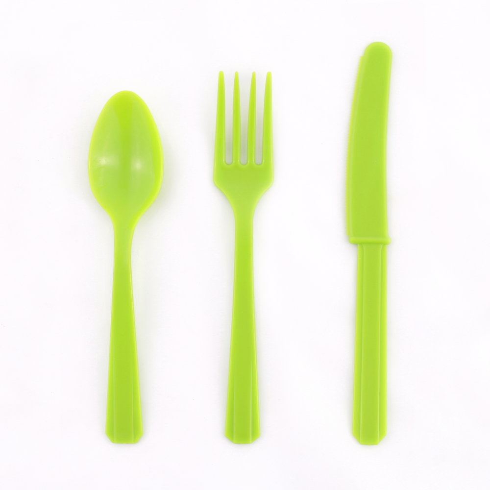 8 SETS OF LIME GREEN CUTLERY