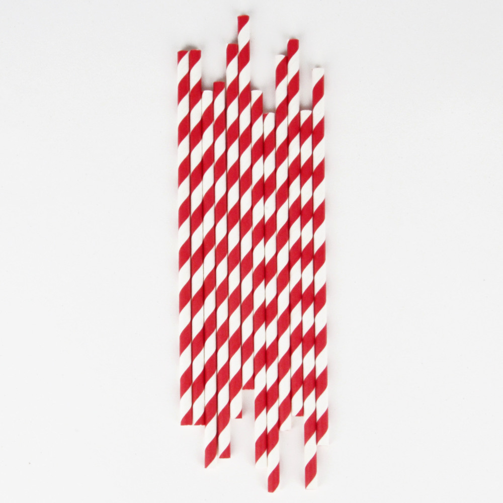 25 RED STRIPED STRAWS