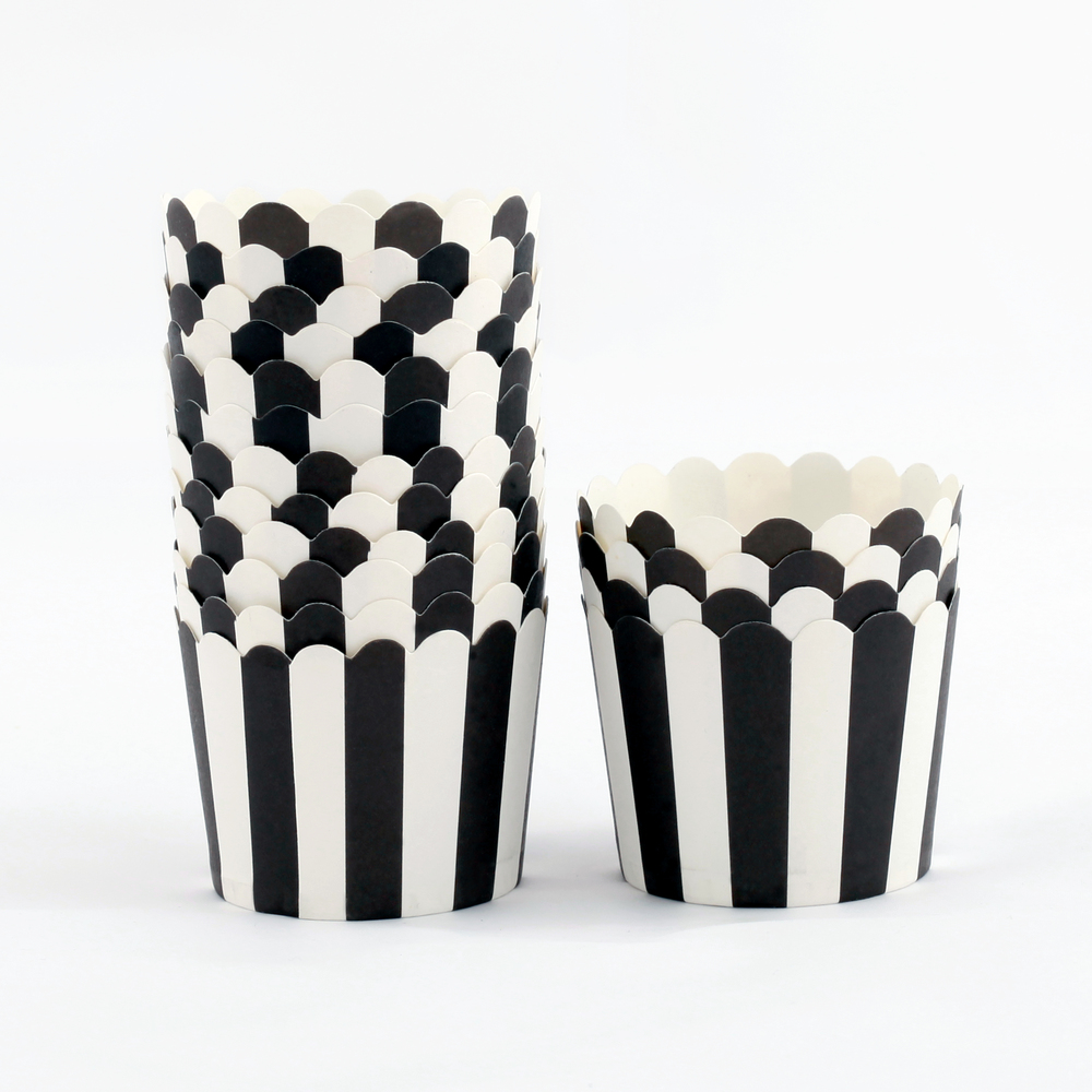 12 BLACK STRIPED CANDY CUPS