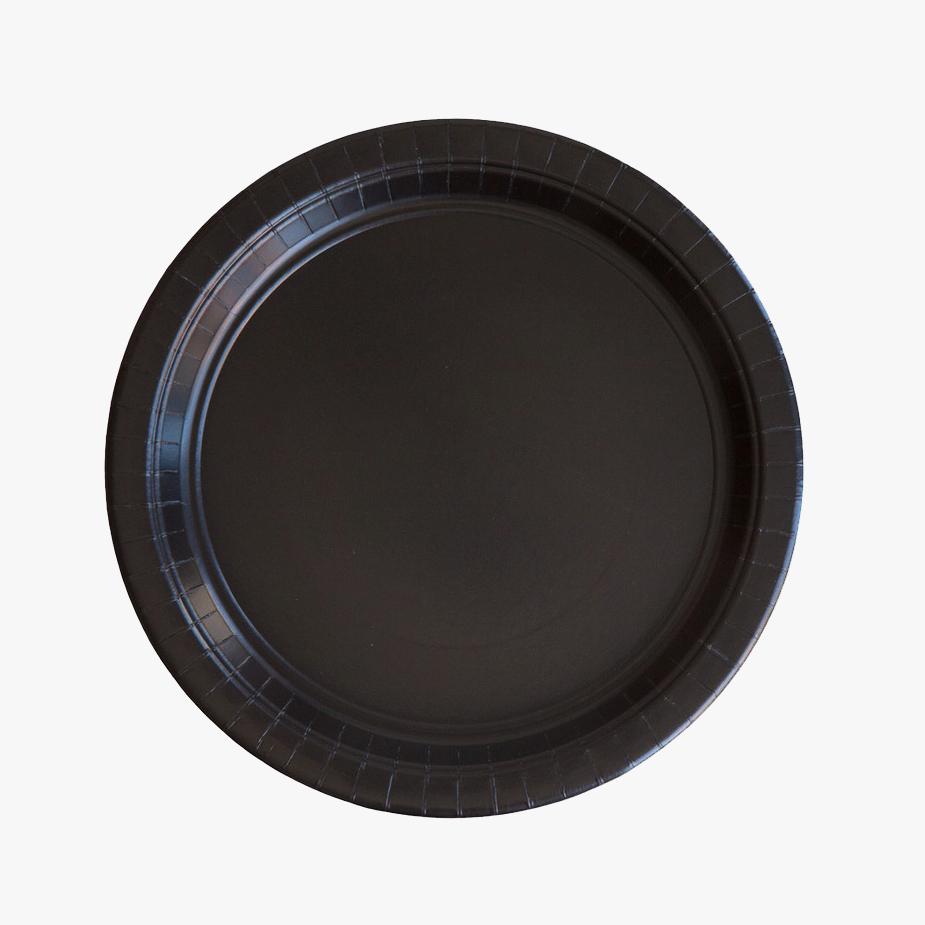8 BLACK PAPER PLATES & 8 BLACK PAPER PLATES u2014 PARTY KITSCH
