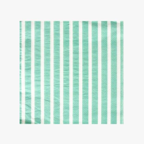 20 aqua striped napkins party kitsch