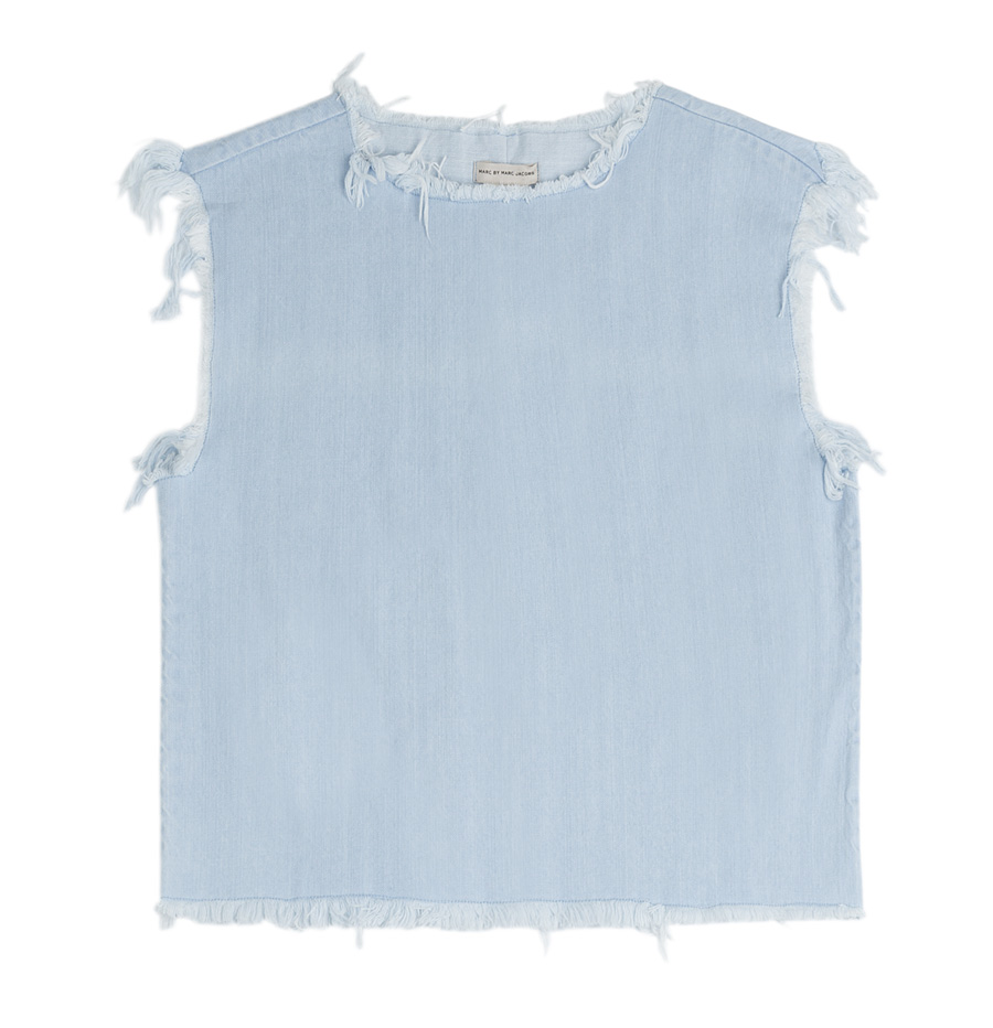 Marc Jacobs Frayed Hem Denim Top
