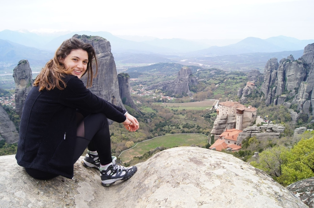 Brigitte on a hiking trip in Meteora, Greece