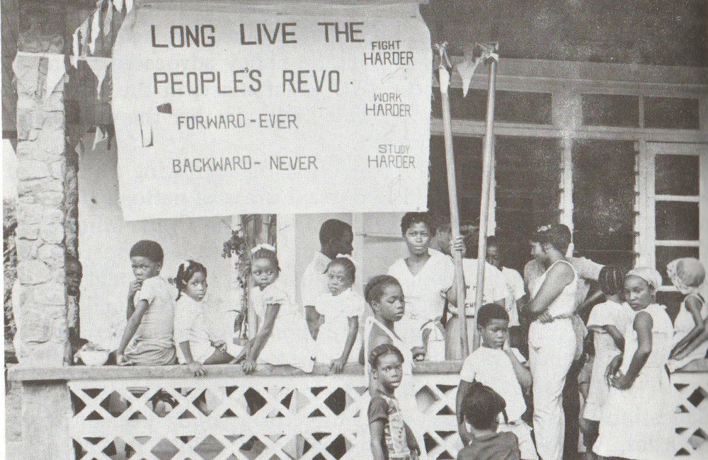 A community run school in Grenada during the Revolution. Image courtesy Caribbean Labour Solidarity/University of the West Indies Grenada/Fedon Press